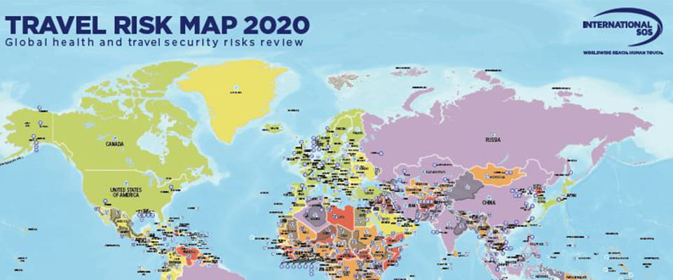 Carte des risques travel risk map 2020